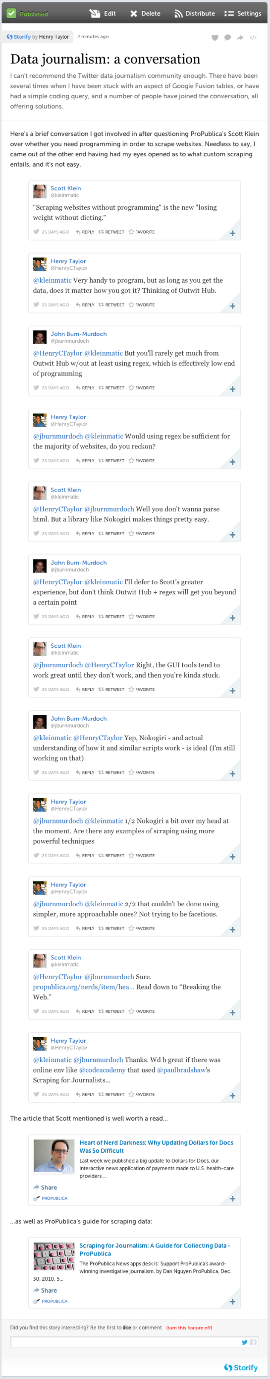 Data journalism: a conversation (with tweets) · henryctaylor · Storify